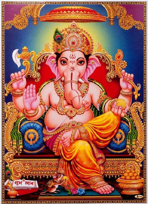 インドの神様 ガネーシャ神お守りカード×1枚[008]India God【Ganesa】Small Card (Charm)【富】【商業】【学問】【繁栄】【成功】【群衆の長】