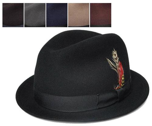 ニューヨークハット New York Hat 5325 Pinched Stingy Fedora (LITE FELT STINGY) 送料無料  スティンジー フェドラ ブラック  グレー ブラウン ネイビー アーモンド バーガンディー 中折れ メンズ レディース ツバ短
