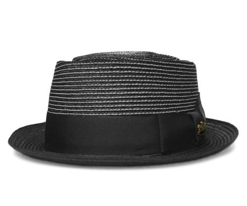 送料無料 Biltmore ビルトモア 18348 CONTRAST MILAN コントラスト ミラン Black 帽子 ストローハット ポークパイハット 麦わら帽子 メンズ レディース 男女兼用 ギフト
