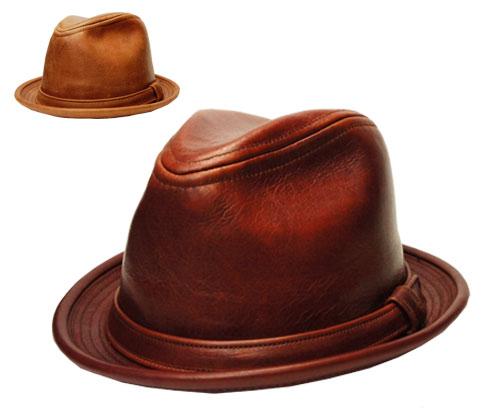 ニューヨークハット New York Hat 9290 vintage leather fedora ヴィンテージ レザー フェドラ Brandy Rust 帽子 ハット ビンテージ 革 中折れハット ランバスキン 紳士 婦人 メンズ レディース 男女兼用 あす楽 大きなサイズ
