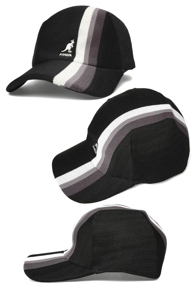 罐子球门KANGOL TRANSMISSION STRIPE SPACECAP变速装置条纹空间盖子Black Navy White帽子盖子绅士妇女人分歧D男女兼用礼物