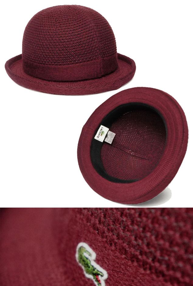 8b6e6a7de7702 LACOSTE Lacoste bowler hat L3202 red brown hat hat thermostat knit  gentleman woman men gap D man and woman combined use