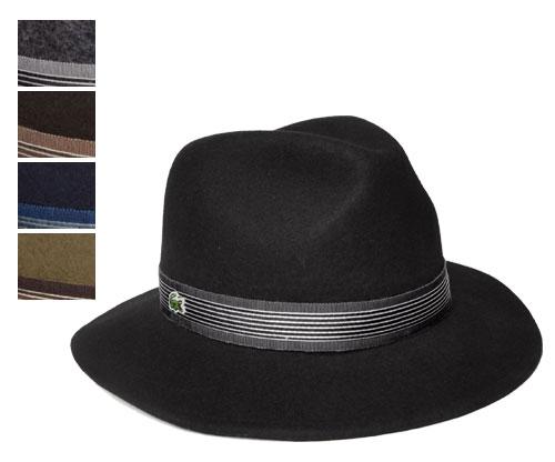 送料無料 LACOSTE ラコステ マニッシュハット L3214 ブラック チャコール ブラウン ネイビー ベージュ 帽子 ハット 中折れニット 紳士 婦人 メンズ レディーズ 男女兼用 あす楽