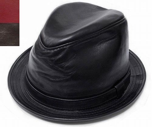 ニューヨークハット 帽子 中折れ New York Hat 9204 LAMBSKIN FEDORA ランバスキン フェドラ Black wine Brown レザー 革 大きいサイズ XXL メンズ レディース 送料無料