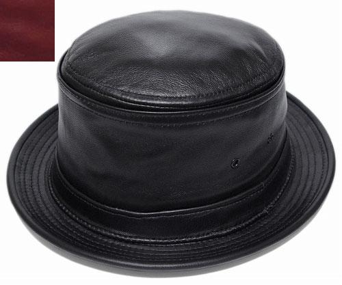 ニューヨークハット 帽子 ポークパイハット NEW YORK HAT 9246 LAMBSKIN STINGY ラムスキン スティンジー Black レザー 大きいサイズ XXL メンズ レディース 送料無料 別注
