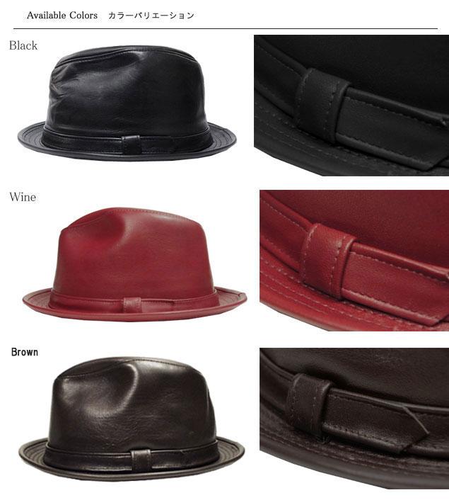 纽约的帽子纽约帽子 9204 羊皮 FEDORA lambaskin Fedora 黑色皮革热皮革眼泪掉帽子大尺寸 XXL 大小男装女装中性