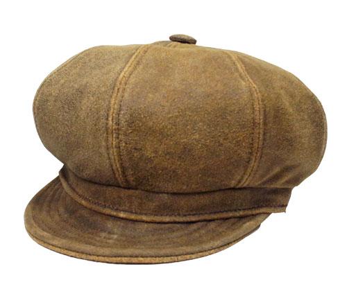 451eaf61 New York Hat New York Hat leather newsboy 9245 ANTIQUE LEATHER SPITFIRE  antique Leather-Brown ...