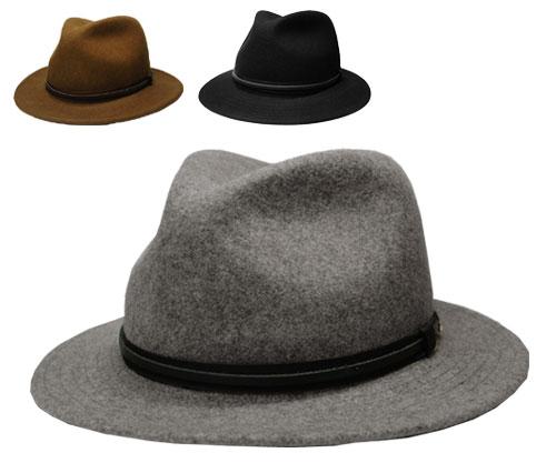 送料無料 Bailey ベイリー #7044 EVANS エヴァンス GRAVEL MIX BISON BLACK 帽子 フェルトハット 中折れハット つば広 紳士 婦人 メンズ レディース 男女兼用