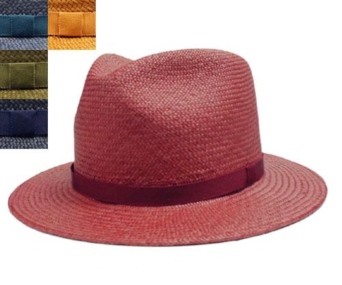 ハット パナマハット 赤 ブルー グリーン 紺 キャメル メンズ レディース ストロー 日本製 中央帽子 中折れハット 麦わら帽子 UV紫外線対策 日よけ