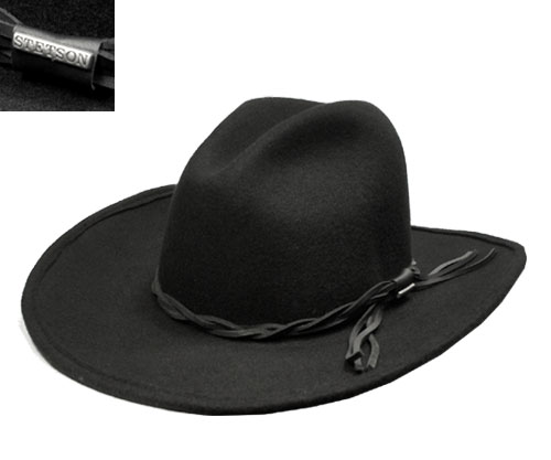 STETSON Stetson Western hats GUS ST986 Black Black felt Hat tear drop  collar length luxury awning unisex men women 1bd3f41c9ae