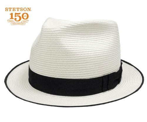 帽子 ストローハット リボン UV アメリカ ステットソン STETSON GULLVER ST105 白 高級 メンズ レディース