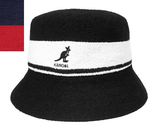 ac6d261d Perception goal KANGOL Bermuda Stripe Bucket BLACK NAVY SCARLET stripe  street ultraviolet rays preventive pail hat ...