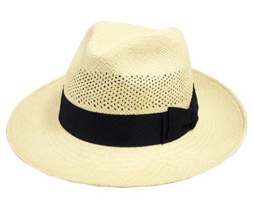 本格パナマハット marea レディース メンズ エクアドル産 中央帽子 中折れハット 麦わら帽子 UV紫外線対策 日よけ
