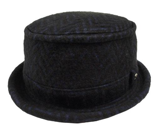 KNOX ノックス 917614 ヘリンボン ポークパイ ブラック×ネイビー ヘリンボーン カジュアル 帽子 ハット メンズ レディース 男女兼用 あす楽
