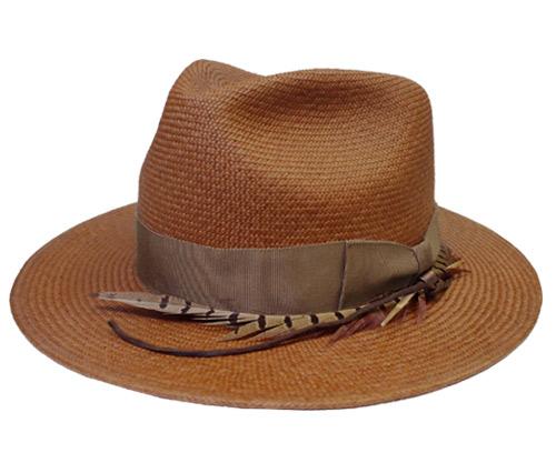 帽子 ステットソン STETSON SE463 Byrds 茶 羽根 高級 パナマ ハット中折れ 日本製 ストローハット メンズ レディース