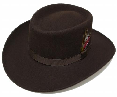 送料無料 New York Hat ニューヨークハット 5314 Mid Nite Gambler(Lite Felt Gambler) ミッドナイト ギャンブラー Brown 帽子 フェルトハット ツバ広 紳士 婦人 メンズ レディース 男女兼用
