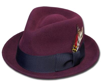 送料無料 New York Hat ニューヨークハット フェルトハット 5329 Tear Drop Stingy Fedora ティアドロップ スティンジー フェドラ Burgundy 帽子 ハット 中折れハット フェルトハット 紳士 婦人 メンズ レディース 男女兼用 あす楽