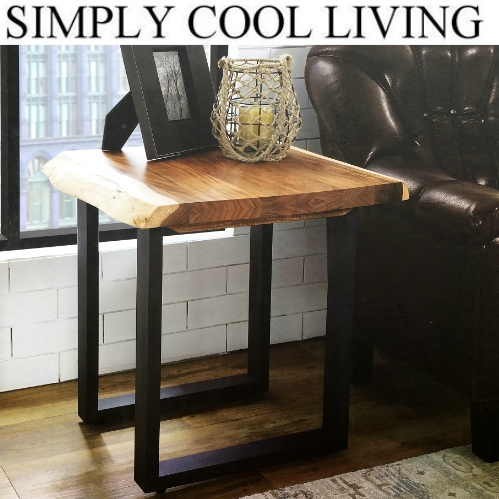 SIMPLY COOL LIVING 天然木 サイドテーブル LIVE EDGE SEDE TABLE ライブエッジ ナチュラル ナイト木製 サイド テーブル 幅61×奥行61×高さ61cm【smtb-ms】1119115