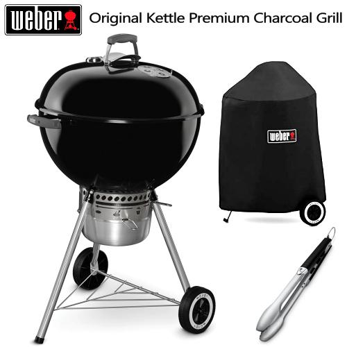 フルセットWeber ウェーバー バーベキューグリルOriginal Kettle Premium Charcoal Grill 57cmオリジナルケトルプレミアム BBQグリル炭火用トング 専用収納カバーバーベキュー グリルマシーン 野外 アウトドア キャンプ