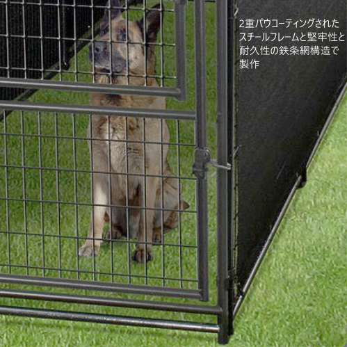 AMERICAN KENNEL CLUB doghouse cage 2way outdoor dog kennel circle outdoors  2-IN-1 steel fence dog pet square rectangle doghouse 0609542
