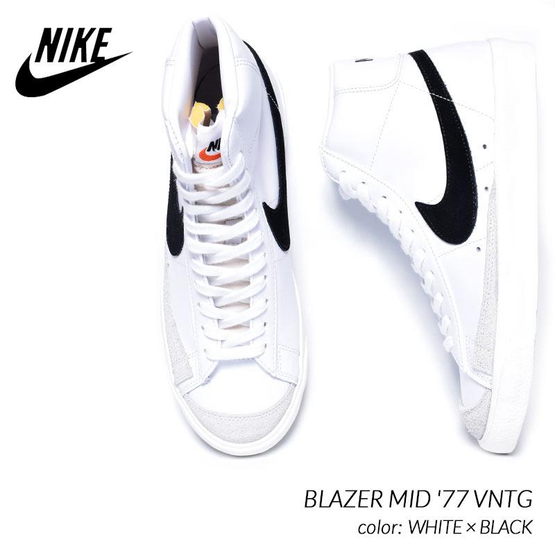 日本未発売 NIKE BLAZER MID '77 VNTG WHITE × BLACK ナイキ ブレイザー ミッド ヴィンテージ スニーカー ( 海外限定 ブレーザー 白 BQ6806-100 )