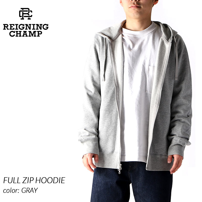 REIGNING CHAMP FULL ZIP HOODIE GRAY レイニングチャンプ フルジップ フーディ パーカー ( レーニングチャンプ グレー RC-3543 )