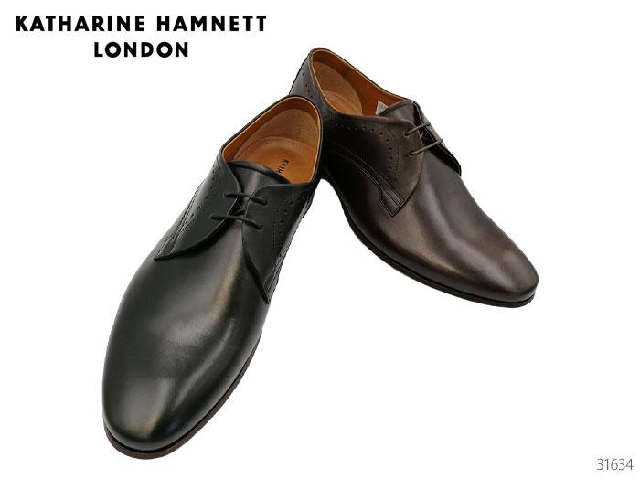 【6/5限定!Wエントリーで最大P16倍!カード】 キャサリンハムネット ロンドン 31634 KATHARINE HAMNETT LONDON レースアップ プレーントゥ ビジネスシューズ 靴 メンズ
