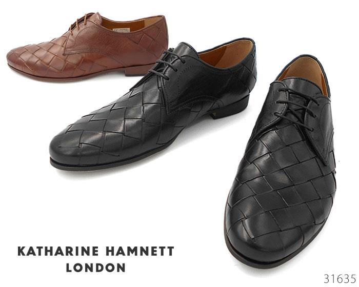 【6/5限定!Wエントリーで最大P16倍!カード】 キャサリンハムネット ロンドン KATHARINE HAMNETT LONDON 31635 外羽根式プレーントゥ メッシュ 靴 メンズ