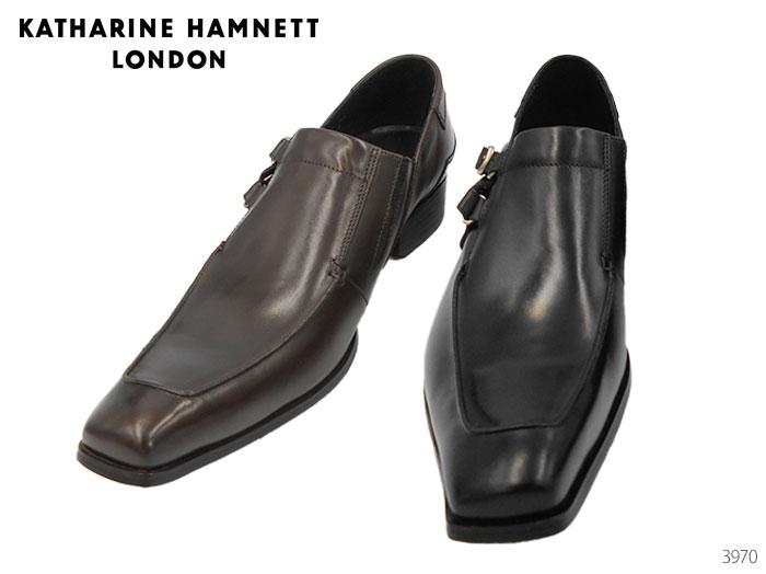 【6/5限定!Wエントリーで最大P16倍!カード】 キャサリンハムネット ロンドン KATHARINE HAMNETT LONDON 3970 スリッポン サイドストラップ 靴 メンズ