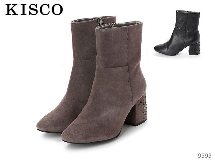【6/5限定!Wエントリーで最大P16倍!カード】 キスコ KISCO 9393 本革 ヒール スタッズ 飾りショートブーツ ブーツ 靴