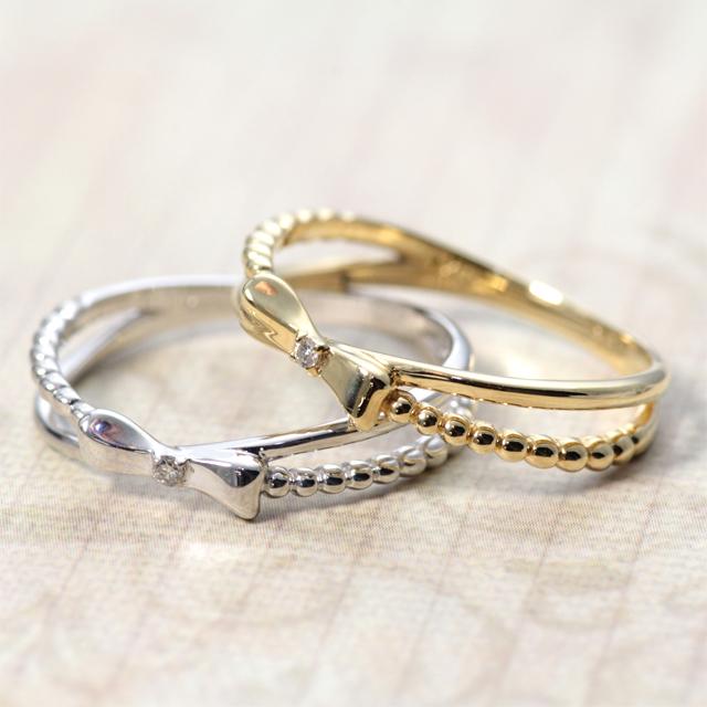 指輪 リング ダイヤモンド 0.01ct イエローゴールド ホワイトゴールド 金属アレルギー ニッケルフリー K18 リボン ラッピング無料【JBR-002】 【prering_l】 prgss