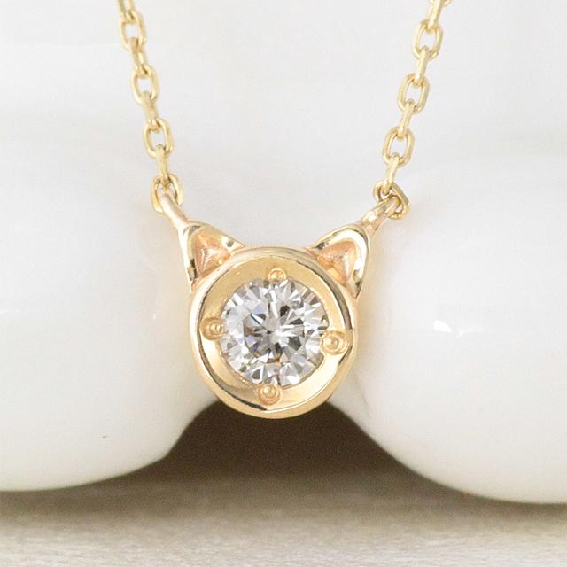 15%OFFクーポン配布中 ネックレス 猫 ネコ レディース ダイヤモンド k10 10k 10金 ゴールド イエローゴールド ピンクゴールド ホワイトゴールド ダイア シンプル 華奢 猫耳 アニマルモチーフ 【preneck_l】 prgss