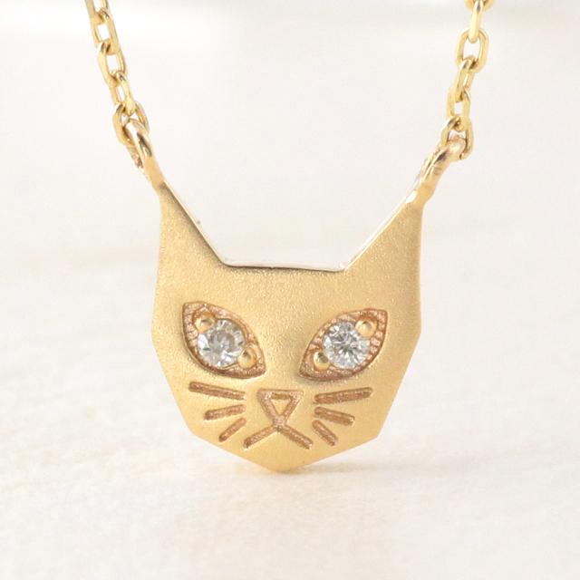 最大20%OFFクーポン配布中 ネックレス レディース ネコ 猫 ねこ cat k10 10k 10金 ダイヤモンド ゴールド イエローゴールド ピンクゴールド ホワイトゴールド シンプル 華奢 アニマル 猫好き かわいい トレンド アニマルモチーフ 【preneck_l】
