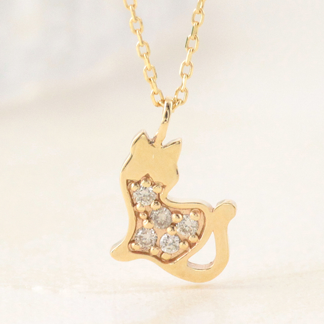 15%OFFクーポン配布中 ネックレス レディース 猫 ネコ ねこ 猫シルエット k10 10k 10金 ゴールド ダイヤモンド イエローゴールド ピンクゴールド ホワイトゴールド アニマル シンプル 【preneck_l】 prgss