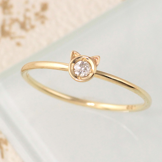 15%OFFクーポン配布中 リング 猫 ネコ ねこ ダイヤモンド k10 10k 10金 ゴールド イエローゴールド ピンクゴールド ホワイトゴールド 猫耳 シンプル 華奢 アニマル 【prering_l】