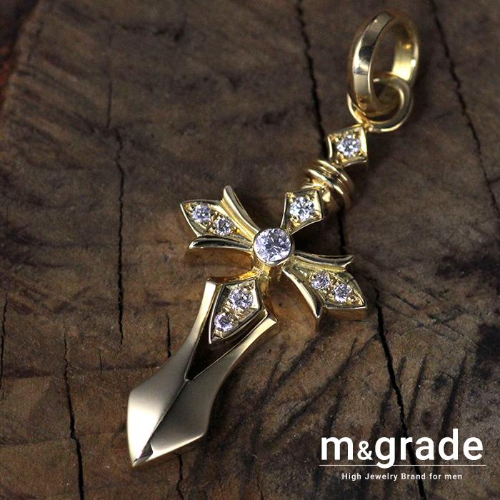 ペンダントトップ メンズ K18 18金 ゴールド イエローゴールド クロス 十字架 おしゃれ ブランド ダイヤモンド ペンダント ネックレス 重量感 おしゃれ 資産価値 prco