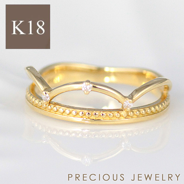 15%OFFクーポン配布中 リング レディース ゴールド 18金 18k K18 指輪 ピンキーリング ダイヤモンド ティアラ シンプル ファッションリング イエローゴールド ホワイトゴールド ピンクゴールド【prering_l】 prgss