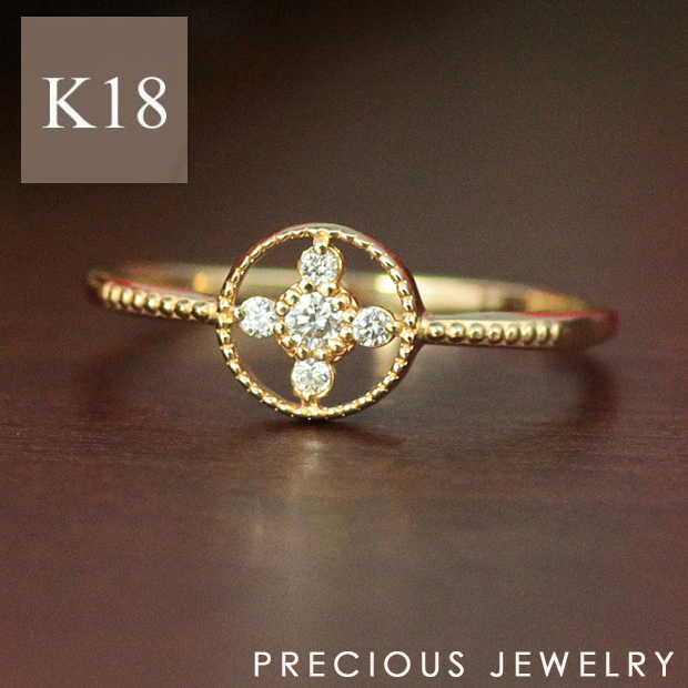 最大20%OFFクーポン配布中 リング レディース 18金 18k 指輪 ゴールド 天然 ダイヤモンド K18 ミル打ち クラシカル 大人 女性 イエローゴールド ピンクゴールド ホワイトゴールド サイズ 7号~16号 【prering_l】 prgss