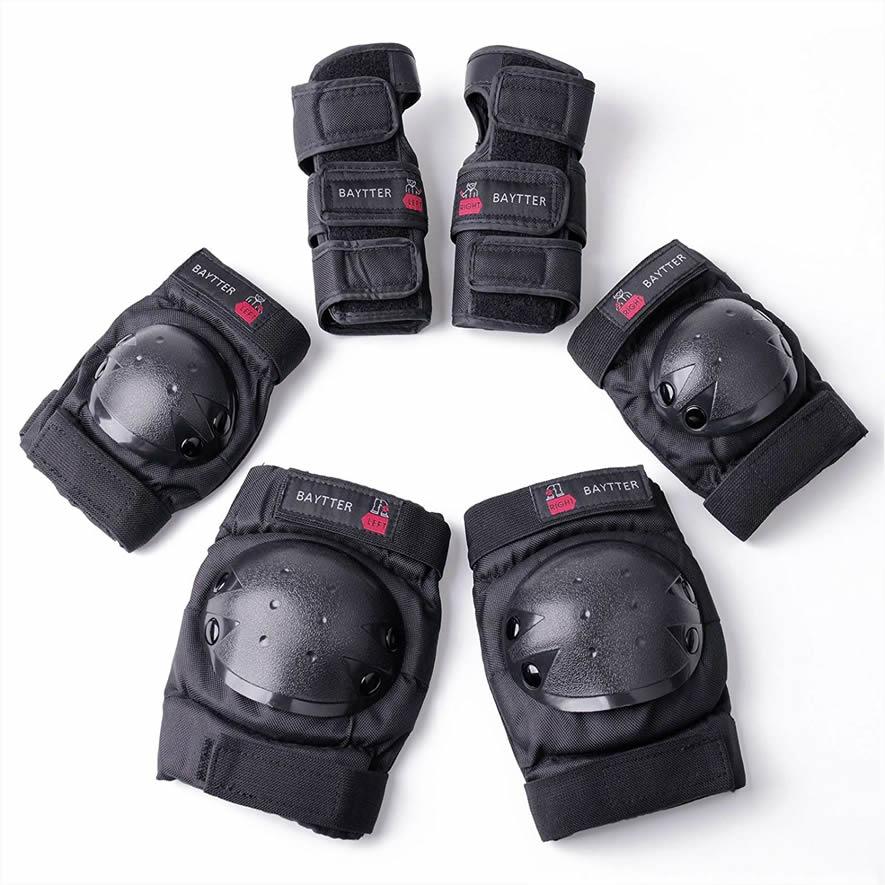 売れてます スケボー 推奨 プロテクター 膝 肘 手首 6点セット インラインスケート 保護パッド SALE開催中 ローラースケートに適用 大人用 専用袋付き