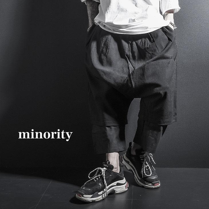 【minority】Fake Layered Pants†ワイドパンツ メンズ アンクルパンツ サルエルパンツ ワイドパンツ モード系 レディース きれいめ ガウチョパンツ クロップド レイヤード ブランド ブラック ストリート系 ロック ROCK ロックファッション 新作 個性的 個性派 Oz オズ