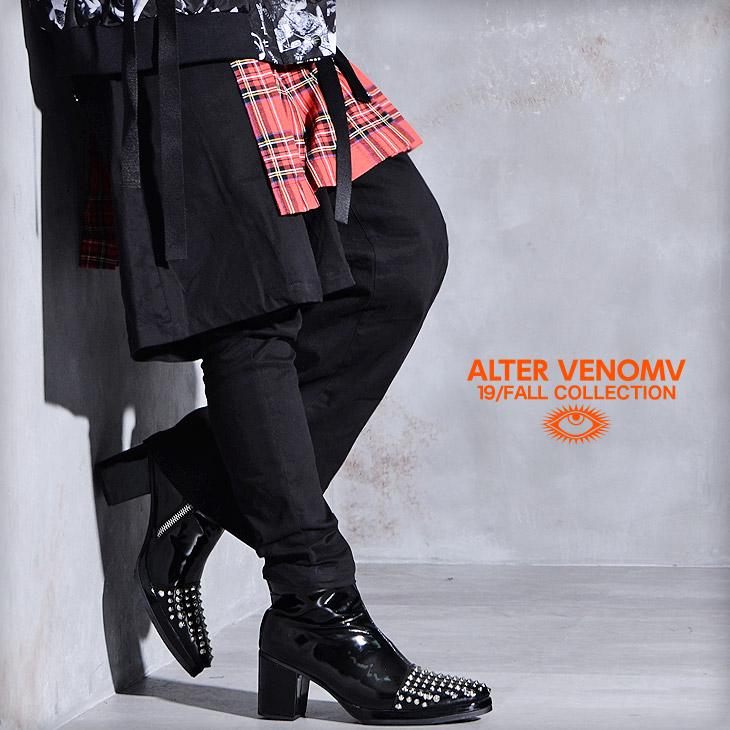 スキニーパンツ メンズ スキニー 細め タイト ワイドパンツ 変形 ブラックスキニー V系 ファッション ロック パンク ストリート ブランド 黒 ブラック チェック柄 チェック 派手 個性的 秋 秋服 秋物 ビジュアル系 ファッション OZ オズ ALTER VENOMV オルターベノム