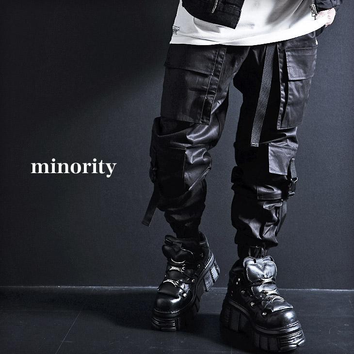 【minority】Multi pocket nylon pants カーゴパンツ メンズ 黒 モード系 メンズ カーゴパンツ ベルト V系 パンツ ヴィジュアル系 ファッション ズボン ミリタリーパンツ ジョガー カーゴパンツ メンズ ストリートファッション ワイドパンツ ロックファッション 韓国