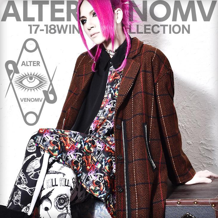 【ALTER VENOMV オルターベノム】Muse COAT†V系 ファッション メンズ コート ロングコート チェスターコート チェック ロング丈 ヴィジュアル系 ビジュアル系 ロック ROCK パンク ロックファッション モード系 派手 衣装 ライブ 個性的 個性派 レディース Oz オズ