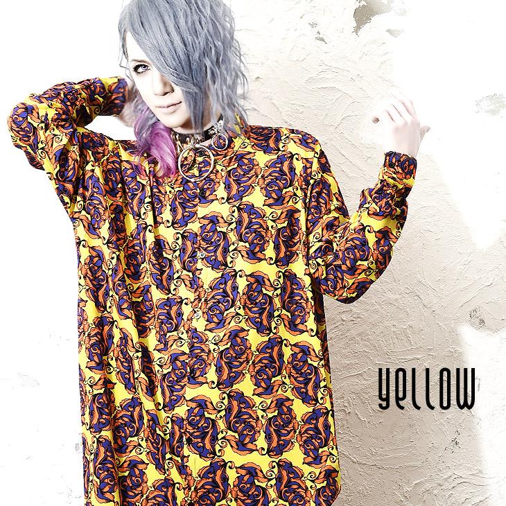Pro-fashion men shirt big shirt over size wide shirt floral design whole  pattern ボタニカル bottle tit sleeve visual of Vionetta SHIRT † V origin long  shot ...