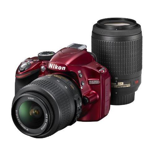 【中古】【1年保証】【美品】Nikon D3200 18-55mm / 55-200mm レッド ダブルズームキット