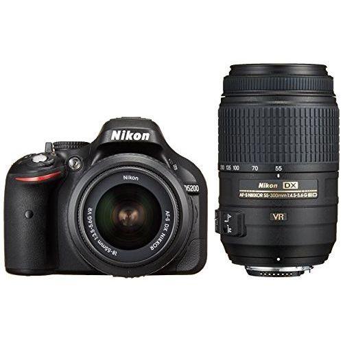 【中古】【1年保証】【美品】Nikon D5200 18-55mm 55-300mm VR ブラック ダブルズームキット