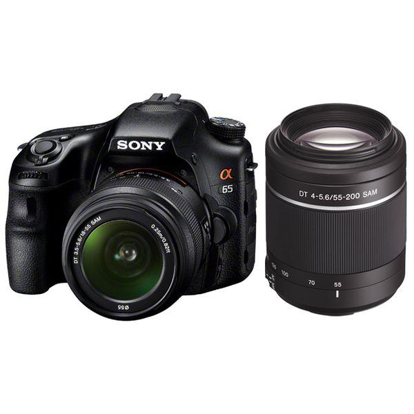 【中古】【1年保証】【美品】SONY α65 ダブルズームキット DT 18-55mm + 55-200mm SAM SLT-A65VY