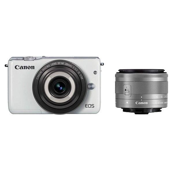 【中古】【1年保証】【美品】Canon EOS M10 15-45mm 28mm ダブルレンズキット ホワイト