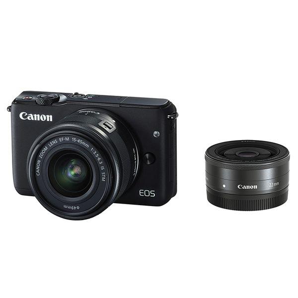【中古】【1年保証】【美品】Canon EOS M10 15-45mm 22mm ダブルレンズキット ブラック