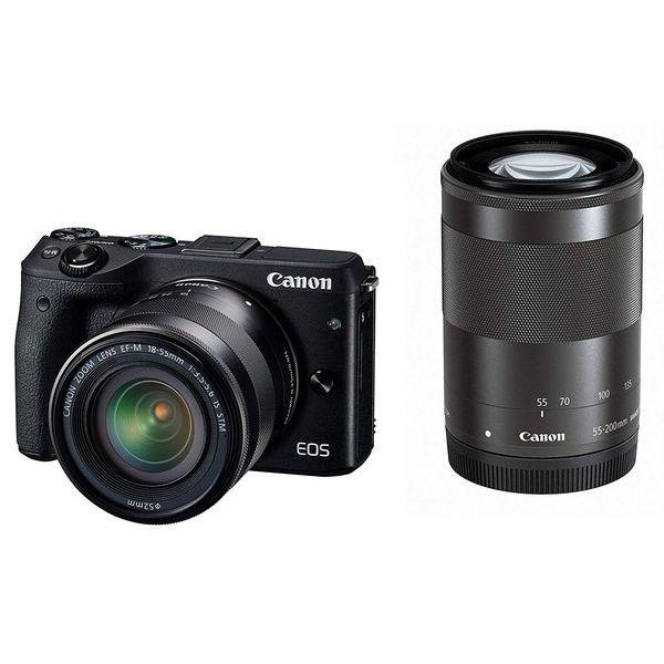 【中古】【1年保証】【美品】Canon EOS M3 18-55mm 55-200mm ダブルズームキット ブラック